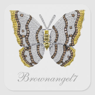 Diamond Butterfly Print Stickers