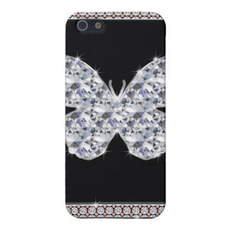 Diamond Butterfly Sky Blue Glitter Cover For iPhone SE/5/5s