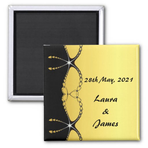 Diamond Chain Gold Wedding Save The Date Magnet