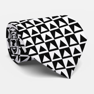 Diamond Checkerboard Block Pattern Black White Neck Tie
