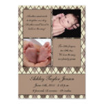 Diamond checkered birth announcement