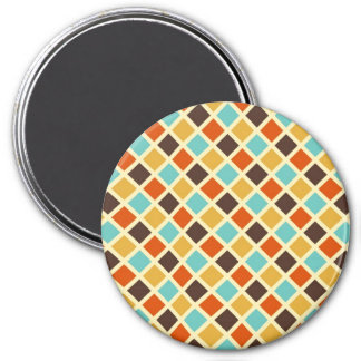 Diamond Checkered Blue Yellow Red Retro Colors 3 Inch Round Magnet