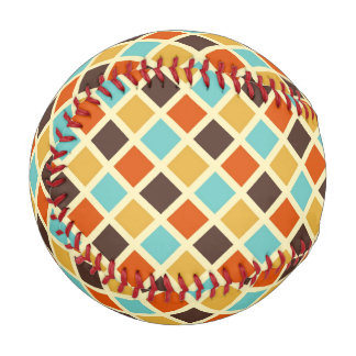 Diamond Checkered Blue Yellow Red Retro Colors Baseball