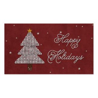 Diamond Christmas Tree Happy Holiday Silver Business Card