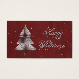 Diamond Christmas Tree Happy Holiday Silver Business Card