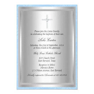 Diamond Cross Blue Baptism/Christening Invitation