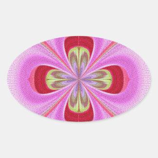 Diamond Crystal RedRose PinkRose Petals Oval Sticker