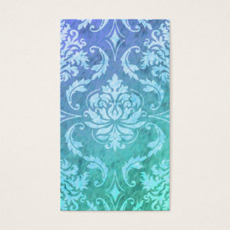 Diamond Damask, COLORFUL RAIN in Blue & Turquoise Business Card