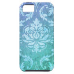 Diamond Damask, Colorful Rain in Blue & Turquoise iPhone 5 Cover