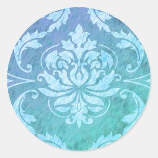 Diamond Damask, COLORFUL RAIN in Blue & Turquoise Classic Round Sticker