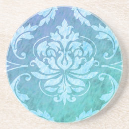 Diamond Damask, COLORFUL RAIN in Blue & Turquoise Coaster