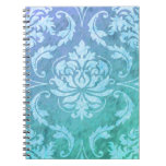 Diamond Damask, COLORFUL RAIN in Blue & Turquoise Note Book