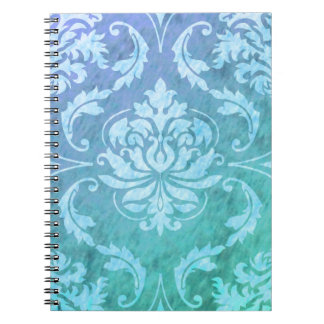 Diamond Damask, COLORFUL RAIN in Blue & Turquoise Notebook