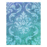 Diamond Damask, COLORFUL RAIN in Blue & Turquoise Poster