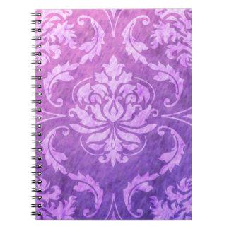 Diamond Damask, COLORFUL RAIN in Fuchsia & Purple Spiral Note Books