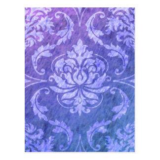 Diamond Damask, COLORFUL RAIN in Purple & Blue Postcard