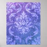 Diamond Damask, COLORFUL RAIN in Purple & Blue Poster