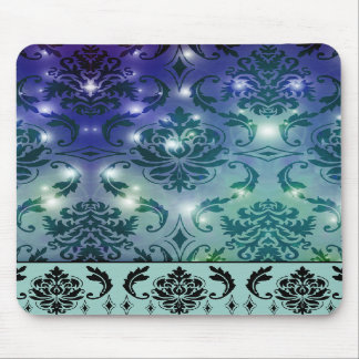 Diamond Damask, FAIRY LIGHTS in Blue and Teal Mousepad