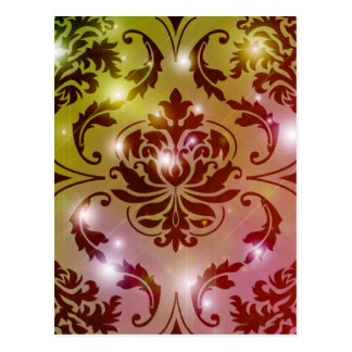 Diamond Damask, Fairy Lights in Olive and Pink Postcard