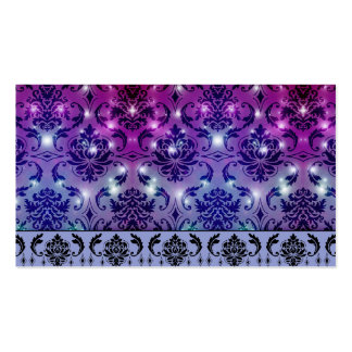 Diamond Damask, FAIRY LIGHTS in Plum and Blue Business Card