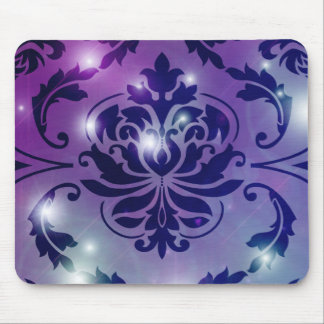 Diamond Damask FAIRY LIGHTS in Plum Blue Mouse Pad