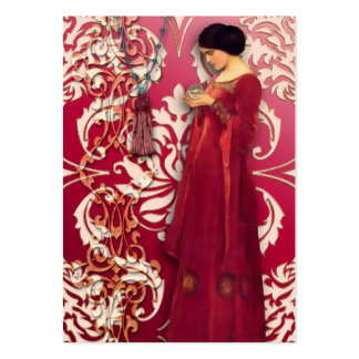 Diamond Damask, FASCINATION in Red & Pink Large Business Card
