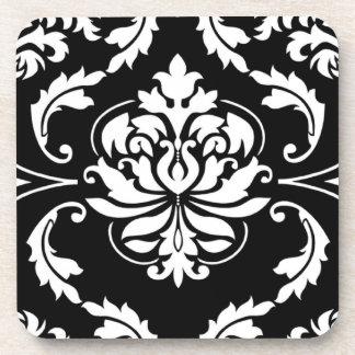 Diamond Damask in White on Black Beverage Coaster