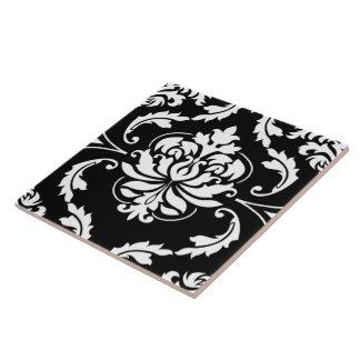 Diamond Damask in White on Black Ceramic Tile