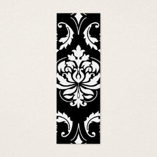 Diamond Damask in White on Black Mini Business Card