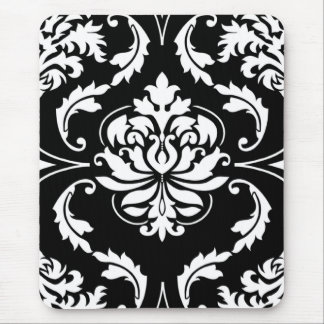 Diamond Damask in White on Black Mouse Pad