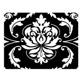 Diamond Damask in White on Black Postcard