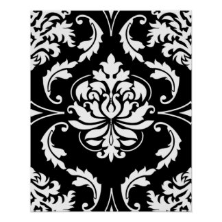 Diamond Damask in White on Black Poster