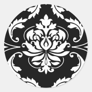 Diamond Damask in White on Black Sticker