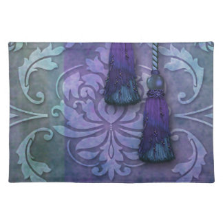 Diamond Damask, MOROCCO in Teal and Purple Cloth Placemat