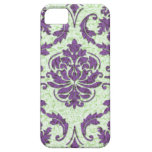 Diamond Damask, Nouveau Print in Purple and Green iPhone 5 Cases