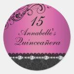 Diamond & Damask Pink Quinceanera Sticker