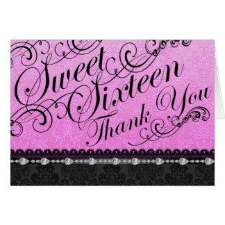 Diamond & Damask Pink sweet16 Thank You card