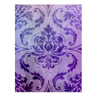 Diamond Damask, Shadows and Fog in Purple Postcard