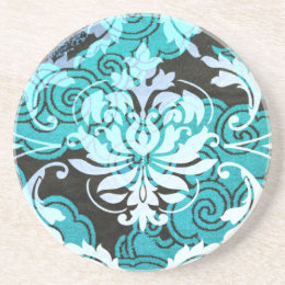 Diamond Damask, SHANGHAI in Teal Coaster