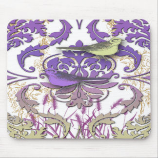 Diamond Damask, Spring Birds in Purple and Yellow Mousepads