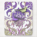 Diamond Damask, Spring Birds in Purple and Yellow Mouse Pad