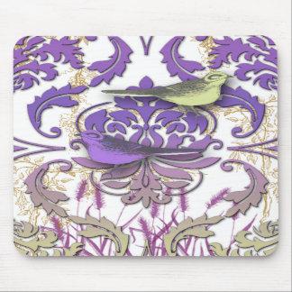 Diamond Damask, SPRING BIRDS in Purple & Yellow Mousepads