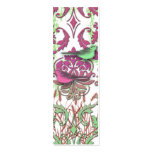 Diamond Damask, SPRING BIRDS in Raspberry & Mint Business Card Template
