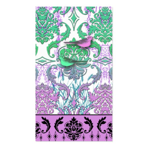 Diamond Damask, SPRING BIRDS in Sea Green and Plum Business Cards