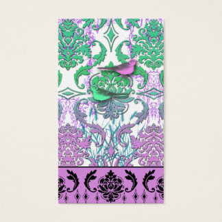Diamond Damask, SPRING BIRDS in Sea Green and Plum Business Card