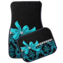 Diamond Damask (Teal Glitter) Car Floor Mat