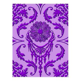 Diamond Damask, The Queen's Jewels in Purple Postcard