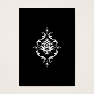 Diamond Damask, White on Black Business Card