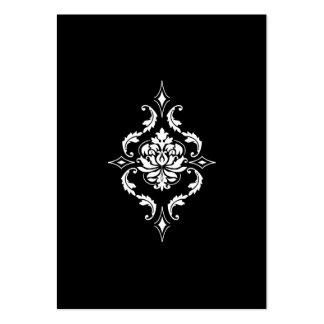 Diamond Damask, White on Black Business Card Templates