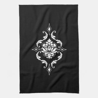 Diamond Damask, White on Black Towel